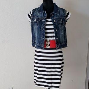 💄Black/White Striped Bodycon Dress